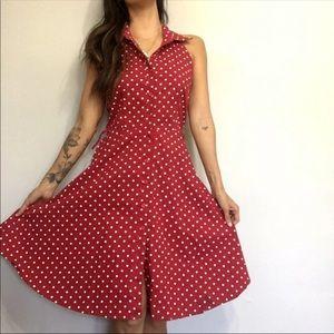 Dresses & Skirts - Red Polka Dot Dress Mini Halter